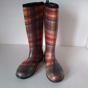 Kanik Plaid Pull On Boots Rain Winter Wellies Sz 6